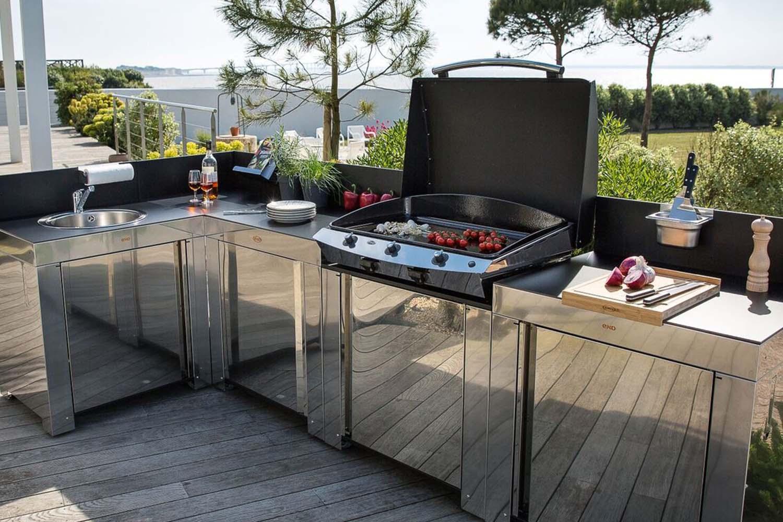 Evier Pour Cuisine D Été cuisine d'extérieur inox modulo eno - les jardins du sud
